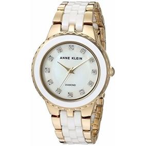 Reloj Dama Anne Klein Cerámica Ak/2712wtgb Nuevo Diamond
