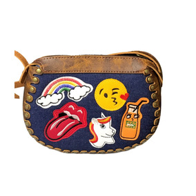 Bolsa Feminina Patches Jeans Couro Arredondada Emoji Ref 216
