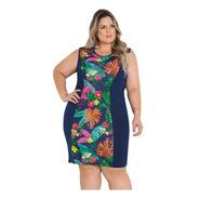 Vestido Plus Size Azul Florido Moda Evangélica Midi Feminino