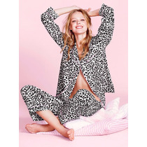 Victoria Secret Set Pijama De Satin Leopard Talla M
