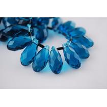 Cabaça Lapidada Furada Topázio Cristal Azul 1pedra 1.2x0.6cm