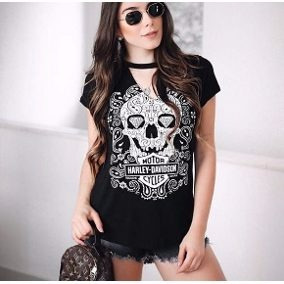 T-shirt Gola Choker Caveira Harley Davidson