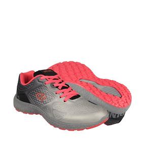 Tenis Deportivo Spalding Para Mujer Simipiel Gris Coral 1179