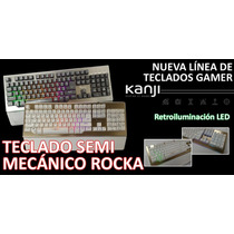 Teclado Semi Mecanico Gamer Kanji Rocka Retroiluminado