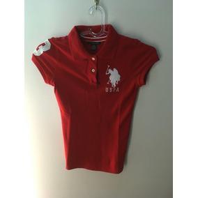 Camisa Gola Polo Uspa Feminina Vermelha Xs Pp Stretch Uspolo
