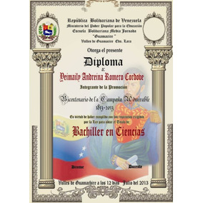Diplomas Pergamino Graduación Preescolar Bachiller Tsu
