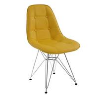Cadeira Dkr Estofada Couro Botonê Amarela - Base Inox