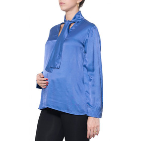 Camisa Gestante Laço Seda Azul