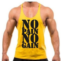 Combo 4x Camisetas Regatas Cavada Golds Gym No Pain No Gain.