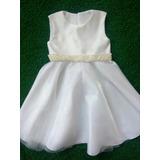 Vestido De Fiesta Bautizo Cortejo Marfil Y Blanco Para Niñas
