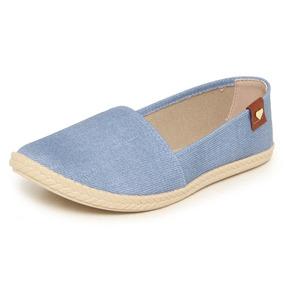 Sapatilha Feminina Moleca Lona Azul Jeans - Frete Grátis