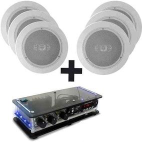 Kit 6 Caixas Acústicas P/ Gesso + Amplificador Bluetooth Som