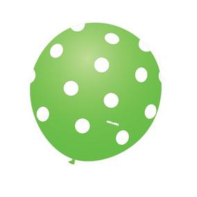 Balão Art-latex Nº9 Verde L. Poá Branco - Bexiga Bolinha 25u