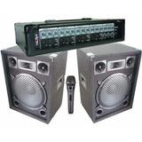 Equipo De Sonido Cabezal + 2 Bafles + Microfono Nuevo