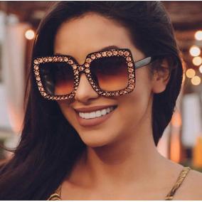 Óculos De Sol Guccii Strass Blogueira Moda Mulher Lançamento