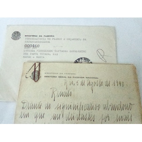 Antiga Carta Circulada Timbrada Carimbada Anos 40! Documento