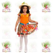 Vestido Junino Infantil Caipira Festa Junina °boneca Laranja