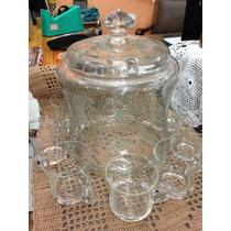 Poncheira Antiga De Cristal Com 8 Canequinhas - Lç495