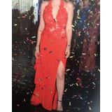 Vestido De Festa - Vermelho Com Cauda, Fenda E Transparência