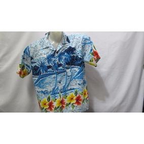 Camisa Maui Company Poliester Azul Coqueiros Flores Gg 337