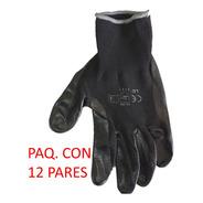 Paq. Con 12 Guantes De Nylon Con Palma Nitrilo