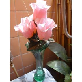 Florero De Vidrio Con Flores Artificiales Decorativas