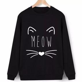 Moletom S/capuz Careca Meow Gatinho Cat Blusa De Fri
