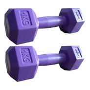 Par Mancuernas Bsfit 1 Kg Pesas Hexagonal Plástico Bicep Gym