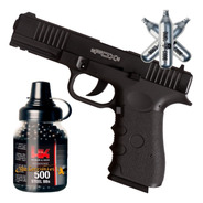 Pistola Co2 Fox Glock 17 Blowback Metalica + Kit Completo