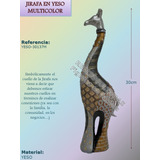 Jirafa Multicolor Figura Decorativa En Yeso