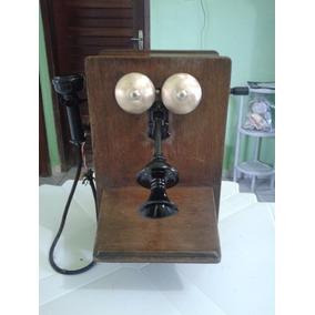 Telefone Antigo De Parede De Madeira A Manivela - Americano