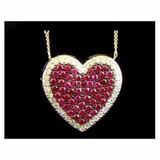 Pingente Coração Ouro Amarelo 18k Com Rubis E Diamantes