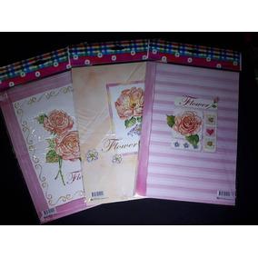 Lote C/3 Blocos De Papéis Papel De Carta Flor Flores