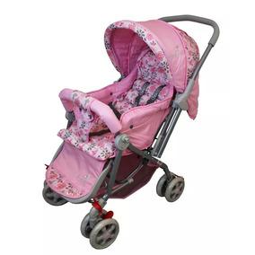 Carrinho Berço Passeio Reversível Rosa Dark - Color Baby
