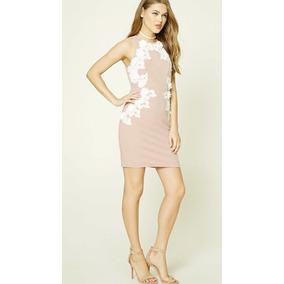 Vestido Encaje Y Chochet Rosa Talle L Forever21