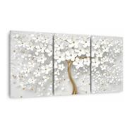 Quadro Cerejeira Branca Abstrato Dourado 150x75 Para Sala