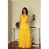 Vestido De Fiesta Elegante Amarillo - Modelo Jardinera