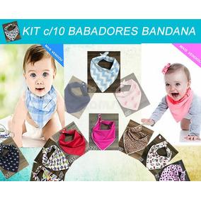 Babador Bandana Menina Ou Menino Kit C/10 2 Botoes