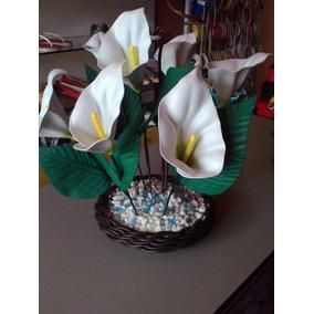 Vaso Flores Artificiais Copo De Leite Eva (artesanato)