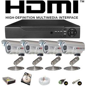 Kit Monitoramento Residencial Comercial 4 Câmeras Infra + Hd