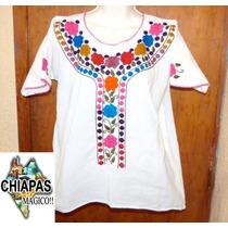 Blusa De Chiapas Bordada A Mano / Talla Mediana / Manta
