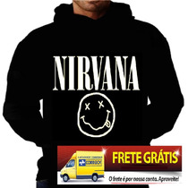 Blusa Moletom Nirvana Bolso Capuz Banda Camisa Moleton Rock