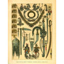 Joyas Objetos Y Armas De La Antigua India - Lámina 45x30 Cm.