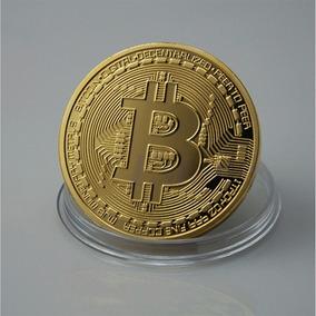 Moeda Bitcoin Fisica Colecionável Banhada Ouro 18k Brinde