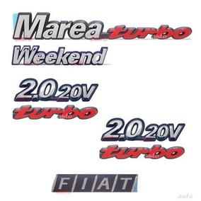 Emblema Marea Turbo Weekend + Laterais 2.0 20v Turbo + Fiat
