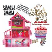 Casinha Rosa E Branca Adesivada Polly + 44 Móveis Mdf Full
