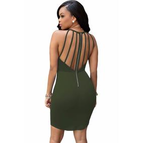 Moda Sexy Mini Vestido Verde Militar Straps En Espalda 22722