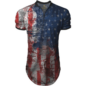 Camiseta Longline Masculina Gola Polo Esporte Flag Usa