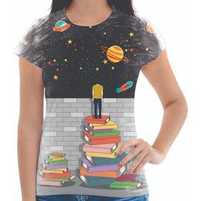 Babylook Camiseta Feminina Livros Planetas Livro 00 d1bc72fd2da50