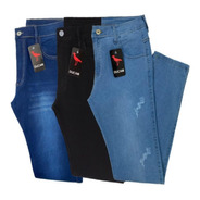 Kit 3 Calça Jeans  Masculina Slim Original  Elastano Lycra